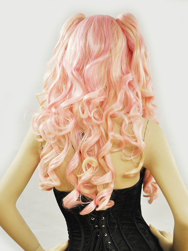 Wig Long Pigtails Meiko Cotton Candy Pink Flaxen Blonde